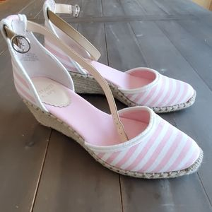 Pink & white striped espadrilles